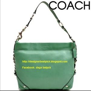 Coach Carly Jade green pebbled leather hobo bag